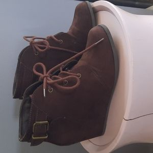3 for $30. Brown wedge booties